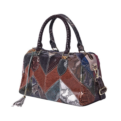 100% Genuine Leather Snake Skin Pattern Tote Bag with Zipper Closure and Adjustable Shoulder Strap (Size 29x14x24 Cm) - Black, Brown and Multi