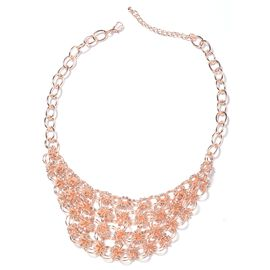White Austrian Crystal Collar Necklace in Rose Gold Plated 20 Inch