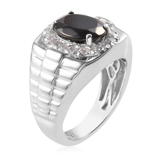 Elite Shungite (2.25 Ct), Natural Cambodian Zircon Ring in Platinum Overlay Sterling Silver 3.400 Ct, Silver wt 9.20 Gms