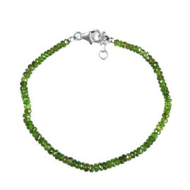 Russian Diopside Beaded Bracelet (Size 7.5) in Rhodium Overlay Sterling Silver 20.00 Ct.