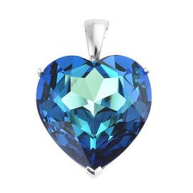 J Francis - Crystal from Swarovski - Swarovski Bermuda Blue Crystal (Hrt 28 mm) Pendant in Platinum