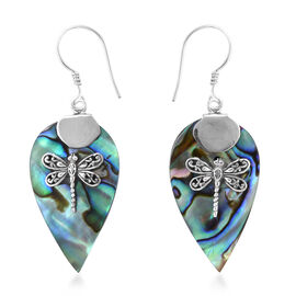 Royal Bali Collection Abalone Shell Dragonfly Hook Earrings in Sterling Silver