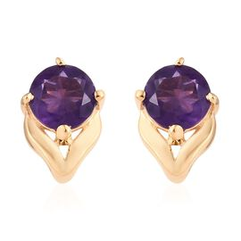 Amethyst (Rnd) Stud Earrings (with Push Back) in 14K Gold Overlay Sterling Silver 1.000 Ct.