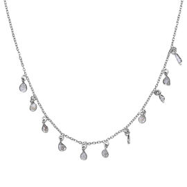 GP Artisan Crafted Polki Diamond and Blue Sapphire Necklace (Size 18 with 2 inch Extender) in Platin