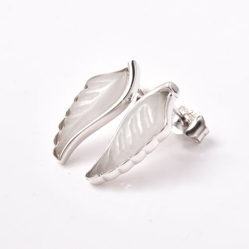 Isabella Liu Angel Wing Collection - Carved White Jade Earrings (with Push Back) in Rhodium Overlay Sterling Silver 6.86 Ct.