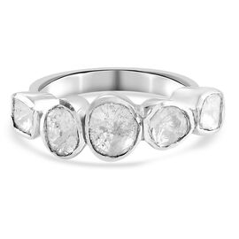 Artisan Crafted Polki Diamond 5-Stone Ring in Sterling Silver 0.50 ct.