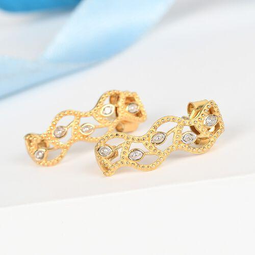 White Diamond Leaf Vine Inspired Full Hoop Earring in 14K Gold Overlay Sterling Silver