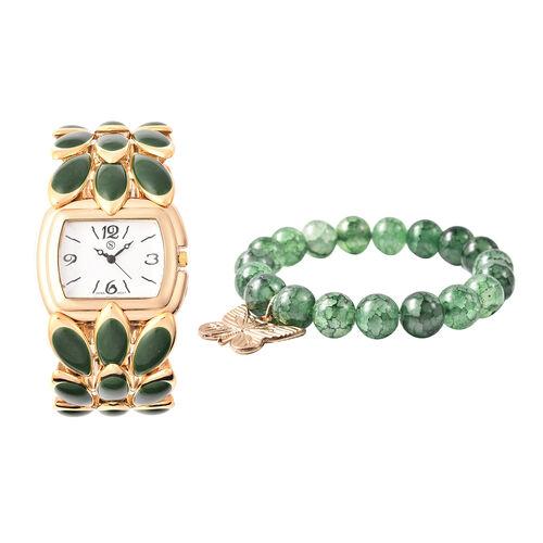 2 Piece Set - STRADA Japanese Movement Water Resistant Adjustable Watch with Floral Petal Design Str
