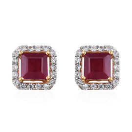 4.25 Ct African Ruby and Cambodian Zircon Halo Stud Earrings in Gold Plated Sterling Silver