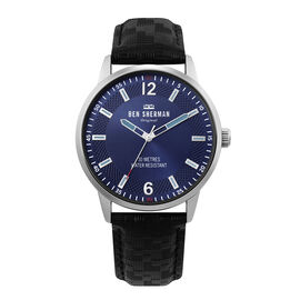 BEN SHERMAN Navy Blue Sunray Round Analog Watch with Black Leather Strap