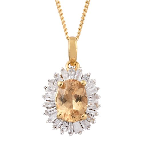 Limited Edition- Designer Inspired- Imperial Topaz (Ovl), Diamond Pendant With Chain in 14K Gold Ove