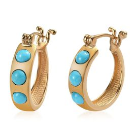 Arizona Sleeping Beauty Turquoise (Rnd) Hoop Earrings (with Clasp) in 14K Gold Overlay Sterling Silv
