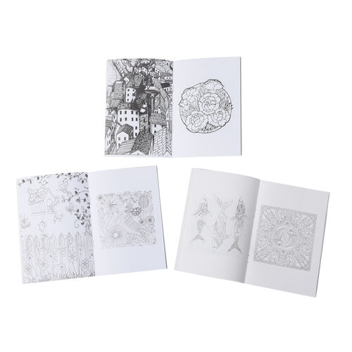 Set of 7 - Six Colouring Books with a Box of 24pcs Crayons (4 Season, Mystery Garden and Lost Ocean)