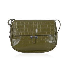 Premium Super Soft 100% Genuine Leather Olive Green Colour Croc Embossed Handbag (Size 27x20 Cm)