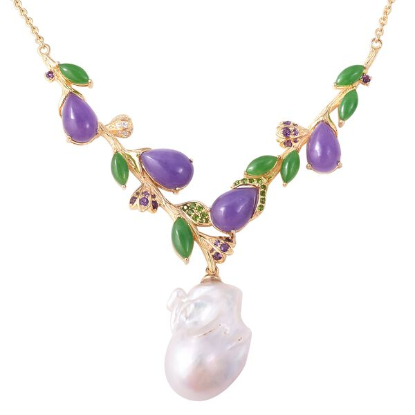 Baroque Freshwater Pearl and Multi Gemstone Y Necklace in Gold Plated Silver 12 Grams 18 Inch
