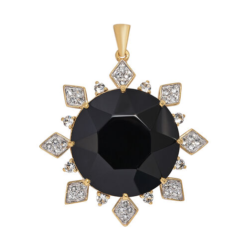 J Francis Made with Swarovski Jet Crystal Sunburst Pendant in Gold Plated Sterling Silver 15.16 Gms