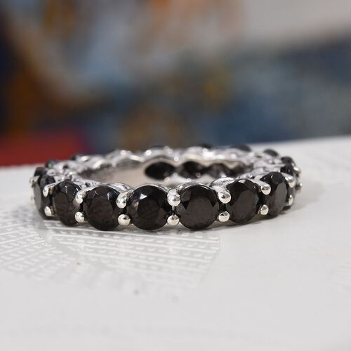 Elite Shungite (Rnd) Band Ring in Platinum Overlay Sterling Silver 3.500 Ct.