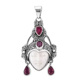 Royal Bali 4 Carat OX Carved Bone Face and African Ruby Pendant in Sterling Silver 9.91 Grams
