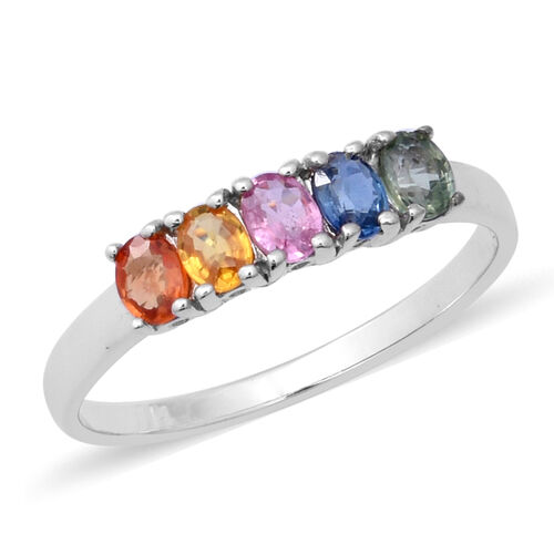 1.20 Ct Rainbow Sapphire 5 Stone Ring in Rhodium Plated Sterling Silver