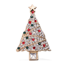 Simulated Diamond and Multi Colour Austrian Crystal Christmas Tree Star Brooch in Yellow Gold Tone