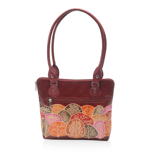 100% Genuine Leather Burgundy Colour Handpainted Tree Pattern Shoulder Bag External Zipper Pocket (Size 30.5x23x6.5 Cm) with RFID Blocking