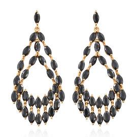 Designer Inspired- Boi Ploi Black Spinel (Mrq) Dangle Earrings (With Push Back) in 14K Gold Overlay Sterling Silver 12.000 Ct, Silver wt 7.04 Gms.