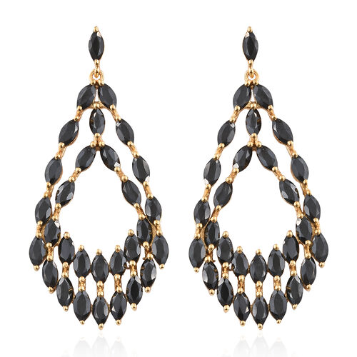 Designer Inspired- Boi Ploi Black Spinel (Mrq) Dangle Earrings (With Push Back) in 14K Gold Overlay Sterling Silver 12.000 Ct, Silver wt 7.04 Gms.