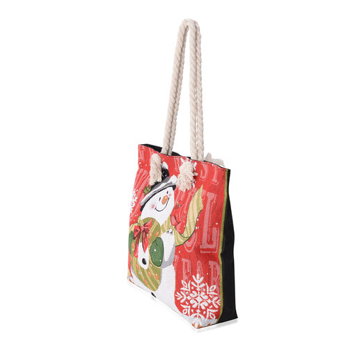 Red Colour with Snowman and Wreath Pattern Tote Bag with Handle Drop (Size 45x35x36x11 Cm)