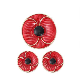 TJC Poppy Design -2 Piece Set -  Poppy Magnet Brooch and Earrings (with Push Back) in Yellow Tone