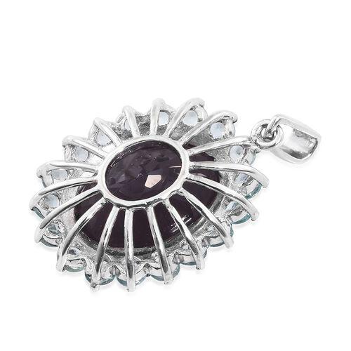 Colour Change Alexandrite Quartz (Ovl 12.75 Ct), Mint Apatite Pendant in Platinum Overlay Sterling Silver 15.000 Ct.