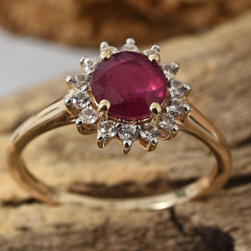 9K Yellow Gold AA African Ruby (Rnd), Natural Cambodian Zircon Ring 1.650 Ct.