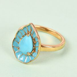 Arizona Sleeping Beauty Turquoise Enamelled Ring in 14K Gold Overlay Sterling Silver 1.330 Ct.