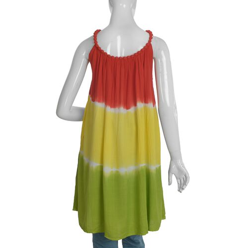 Plaited Strap Ombre Dress - Red and Multi Colour