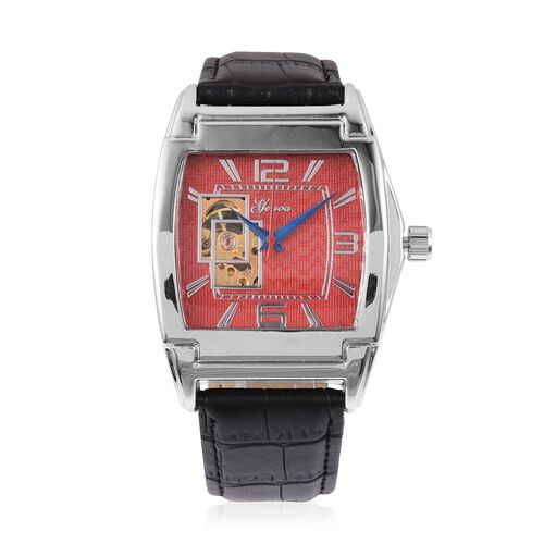 GENOA Automatic Mechanical Movement Red Dial Water Resistant Watch in Silver Tone with Black Strap
