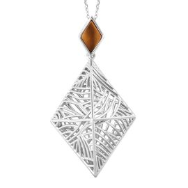 Isabella Liu - Sea Rhyme Collection - Tigers Eye Pendant With Chain (Size 30) in Rhodium Overlay Ste