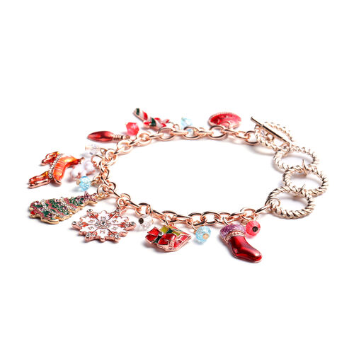 Simulated Multi Colour Gemstone, White and Pink Austrian Crystal Multi-Charm Christmas Theme Enamelled Bracelet (Size 10 with Extender) in Rose Gold Tone