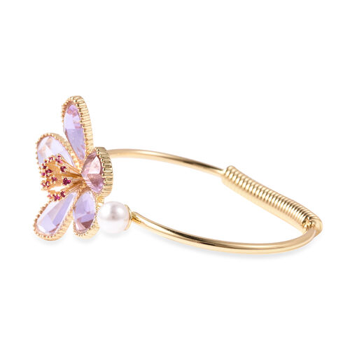 Fuchsia Colour Austrian Crystal, Simulated Kunzite and White Shell Pearl Floral Cuff Bangle (Size 7.5) in Yellow Gold Tone