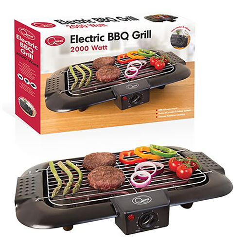 Electric BBQ Grill with Water Filled Drip Tray for Reduced Smoke and Odour and Adjustable Temperatur