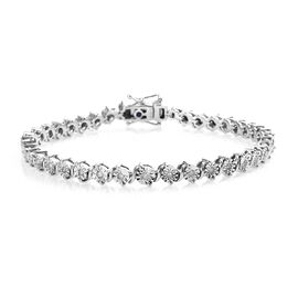 GP Diamond and Blue Sapphire Tennis Bracelet in Platinum Plated Sterling Silver 0.52 Ct 7.5 Inch