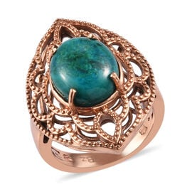 Chrysocolla Ring in Bronze Tone 5.25 Ct.