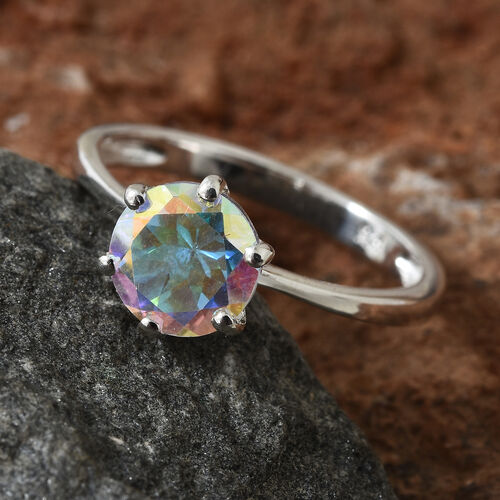 Mercury Mystic Topaz (Rnd) Solitaire Ring in Sterling Silver 1.500 Ct.