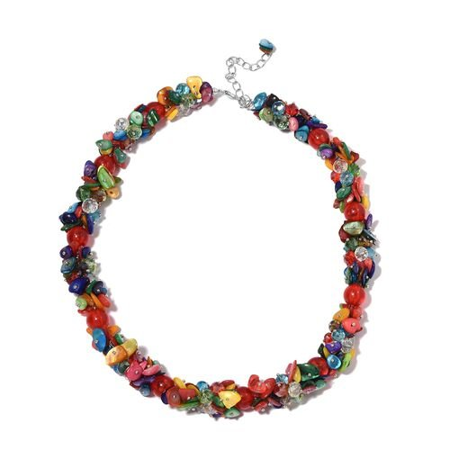Multi Colour Shell and Simulated Multi Colour Gemstone Beads Cluster Necklace (Size 20 with 3 inch E
