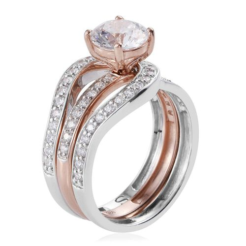 J Francis - Platinum and Rose Gold Overlay Sterling Silver (Rnd) 2 Ring Set Made with SWAROVSKI ZIRCONIA, Silver wt 6.48 Gms.