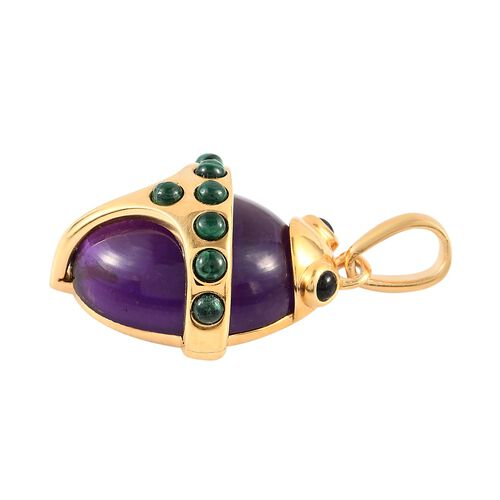 Sundays Child - Special Order - Amethyst, Malachite, Boi Ploi Black Spinel Pendant in 14K Gold Overlay Sterling Silver 11.05 Ct.