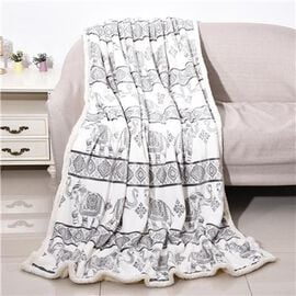 Elephant Printed Warm & Soft Double Layer Sherpa Blanket (150x200 cm)