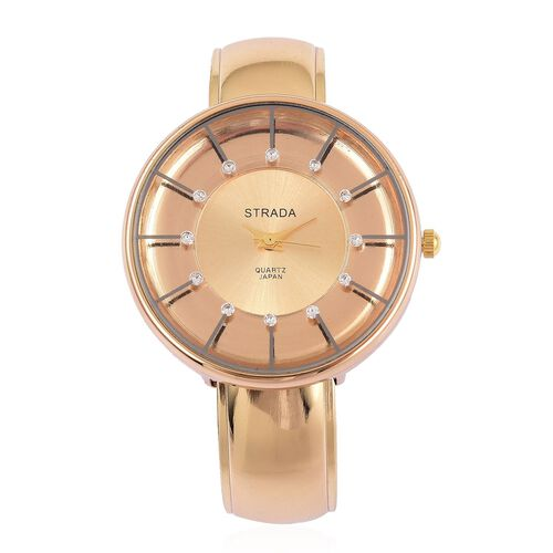 STRADA Japanese Movement Water Resistant Golden Plated Bangle Watch with Studded White Austrian Crys