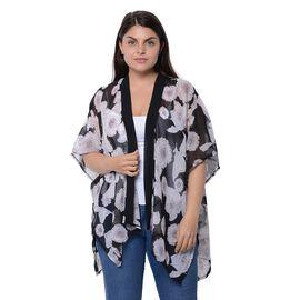 Dark Grey Colour Floral Pattern Kimono (Size 85x71 Cm)