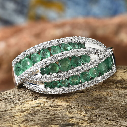 AA Kagem Zambian Emerald (Rnd), Natural Cambodian Zircon Ring in Platinum Overlay Sterling Silver 2.000 Ct. Silver wt 5.38 Gms. Number of Gemstone 115