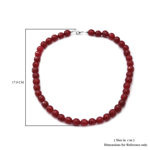 Ruby Agate Beaded Necklace (Size 18) in Sterling Silver 250.00 Ct