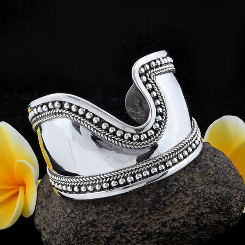 Royal Bali Collection- Sterling Silver Cuff Bangle (Size 7), Silver wt 51.69 gms.